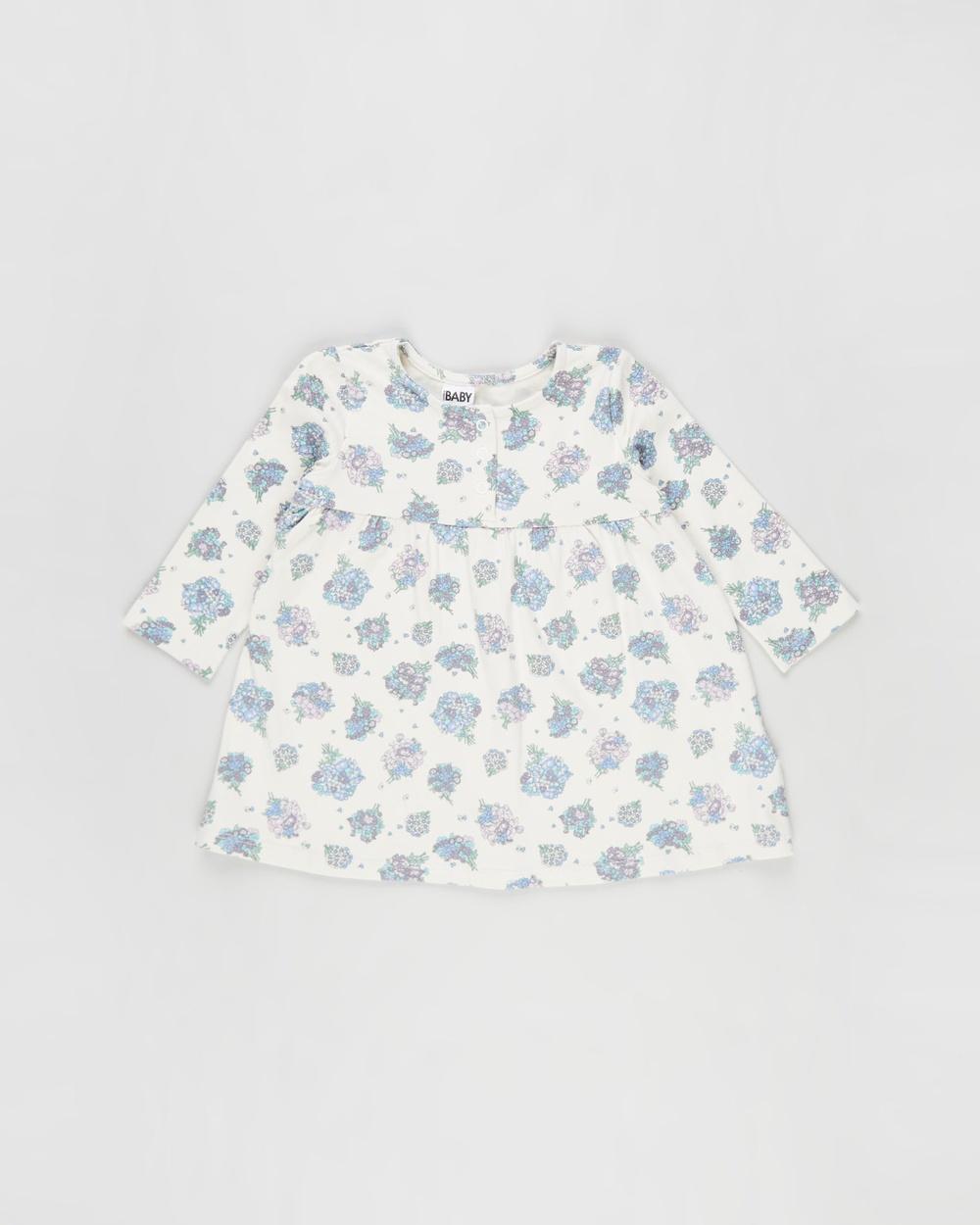 Cotton On Baby Molly Long Sleeve Dress Babies Dresses Dark Vanilla & Dusk Purple Petunia Floral Australia