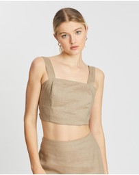AERE - Square Neck Linen Crop Top