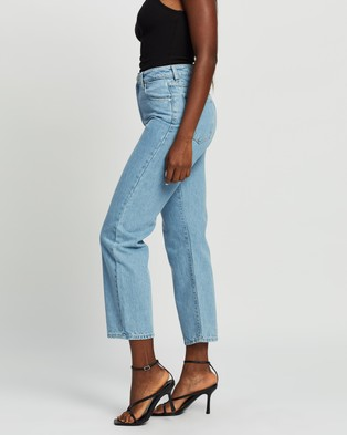 Abrand A Venice Straight Jeans Crop Waterfalls Blue