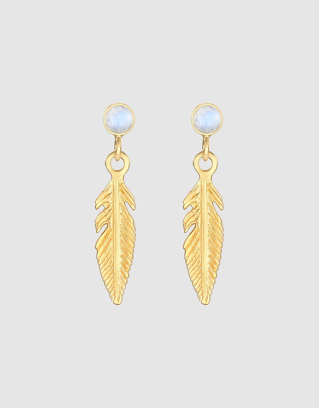 Women Earrings Feather Boho Moonstone in 925 Sterling Silver Gold Plated