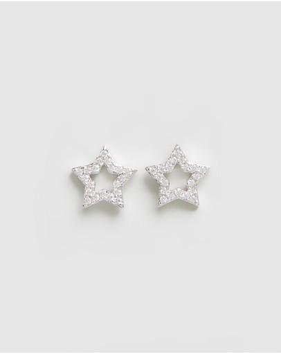 Jackie Mack Shooting Star Studs 18k White Gold