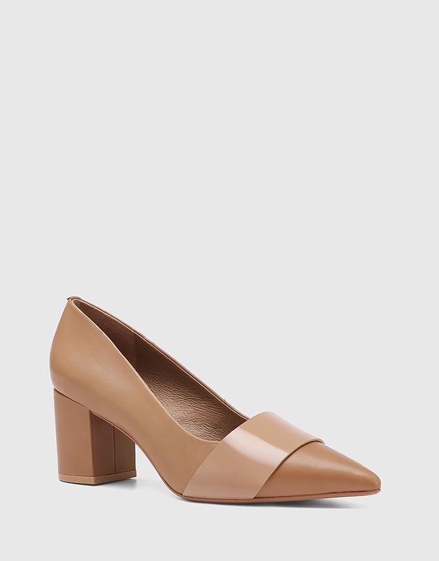Women Danko Patent Leather Pointed Toe Block Heels