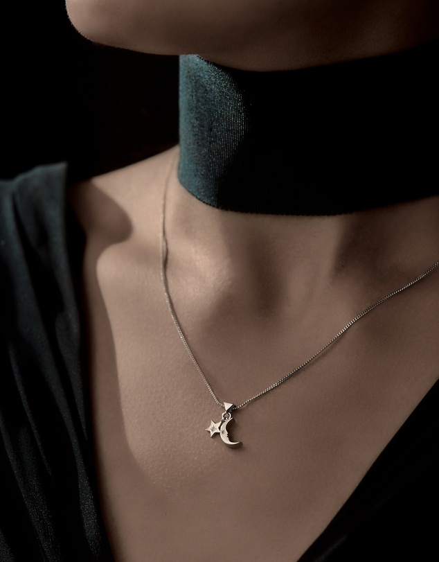 Women Moon and Star Charm Necklace