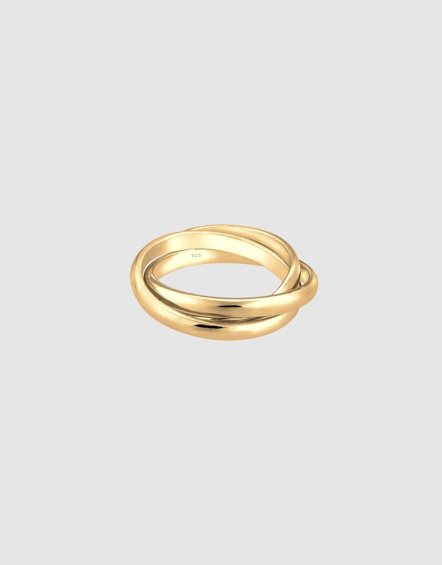 Elli Jewelry -  Ring Wrap Trio Basic 925 Silver Gold Plated