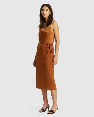 FRIEND of AUDREY Suri Satin Tie Dress - Dresses (Tobacco)