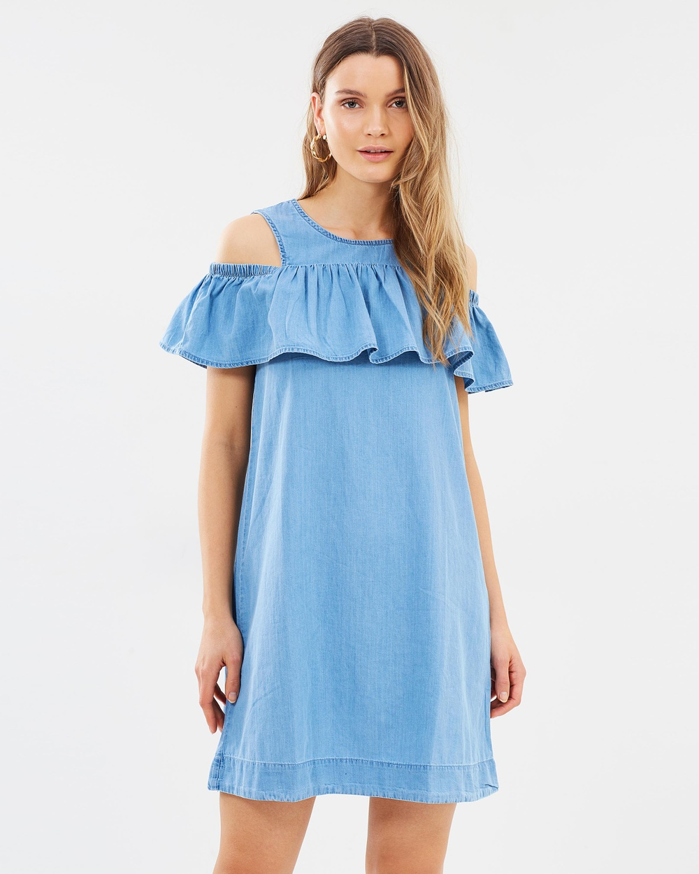 Vero Moda Cold Shoulder Organic Cotton Dress Dresses Light Blue Cold Shoulder Organic Cotton Dress