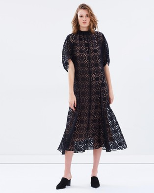 Bianca Spender – Circle Burnout Archer Dress Black