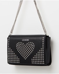 LOVE MOSCHINO - Heart Studded Leather Satchel Bag
