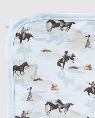 Milky Cowboy Wrap Kids Blankets Ice Blue