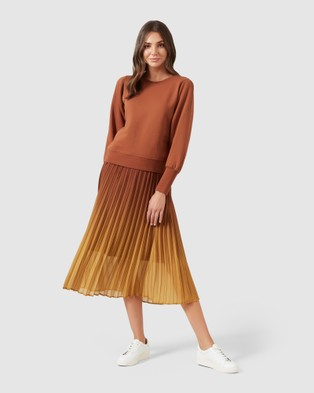 French Connection Ombre Pleated Midi Skirt - Skirts (MULTI)