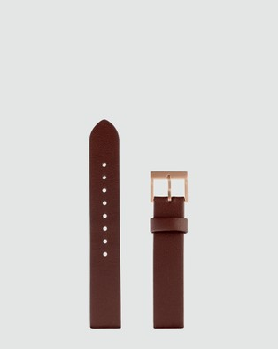 Status Anxiety Inertia - Watches (Brushed Cooper Case, White Face & Brown Strap)