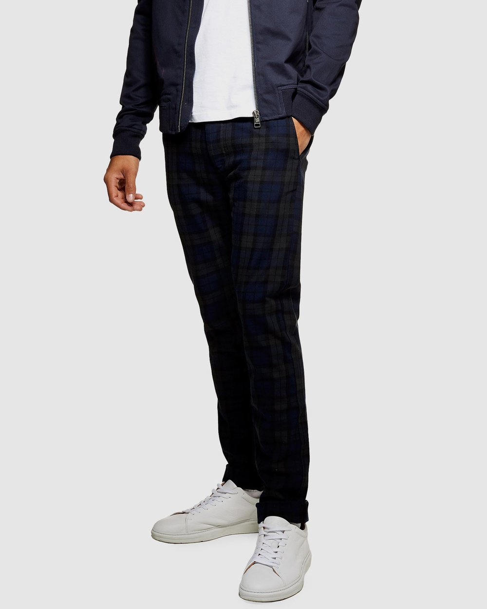 b50c1f9a39 Watch Check Stretch Skinny Trousers by Topman Online | THE ICONIC |  Australia