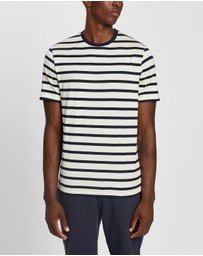 Sunspel - Short Sleeve Striped Crew Neck T-Shirt