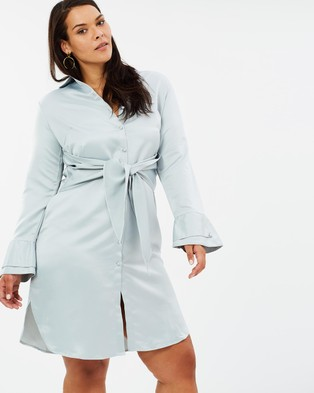 Lost Ink Plus – Shirt Dress With Tie Waist Grey