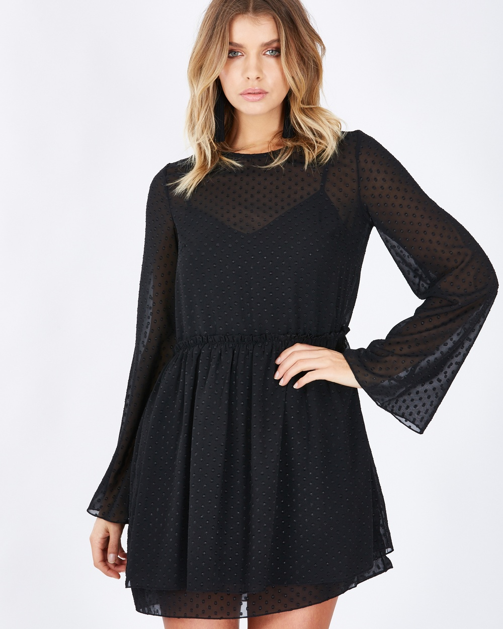 Calli Astrid Sheer Shift Dress Dresses Black Polka-dot Astrid Sheer Shift Dress