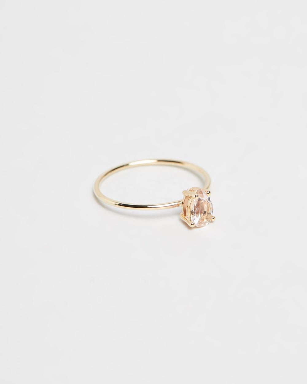 Natalie Marie Jewellery Tiny Pear Ring Morganite
