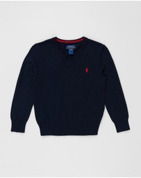 Polo Ralph Lauren - Pima V-Neck Long Sleeve Sweater - Kids