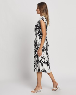 David Lawrence Mei Tie Front Dress - Printed Dresses (Black & White)