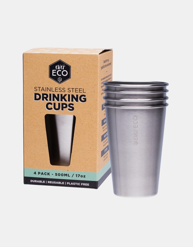 Life Stainless Steel Drinking Cups 4 x 500ml