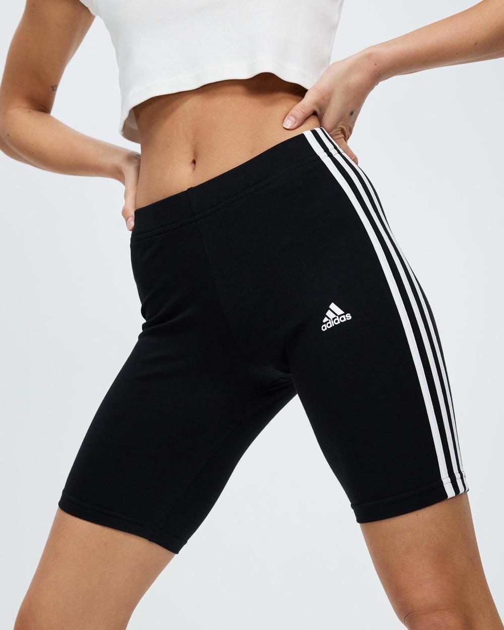 adidas Performance 3 Stripes Bike Shorts 1/2 Tights Black & White 3-Stripes