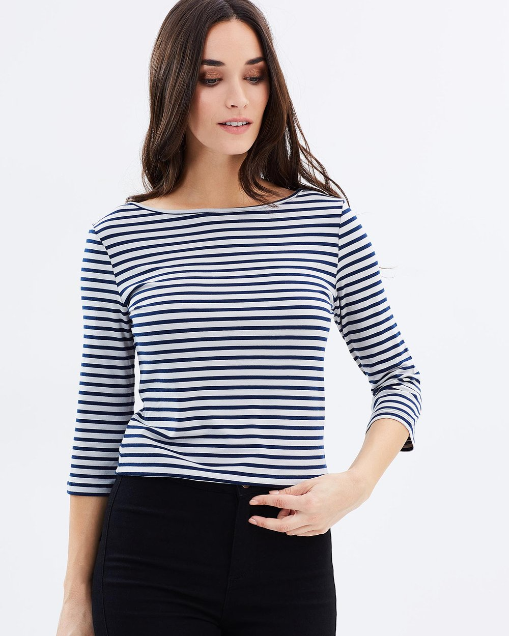 d8f69bb89f4f38 Ada 3 4 Sleeve Boat Neck Top by Bamboo Body Online
