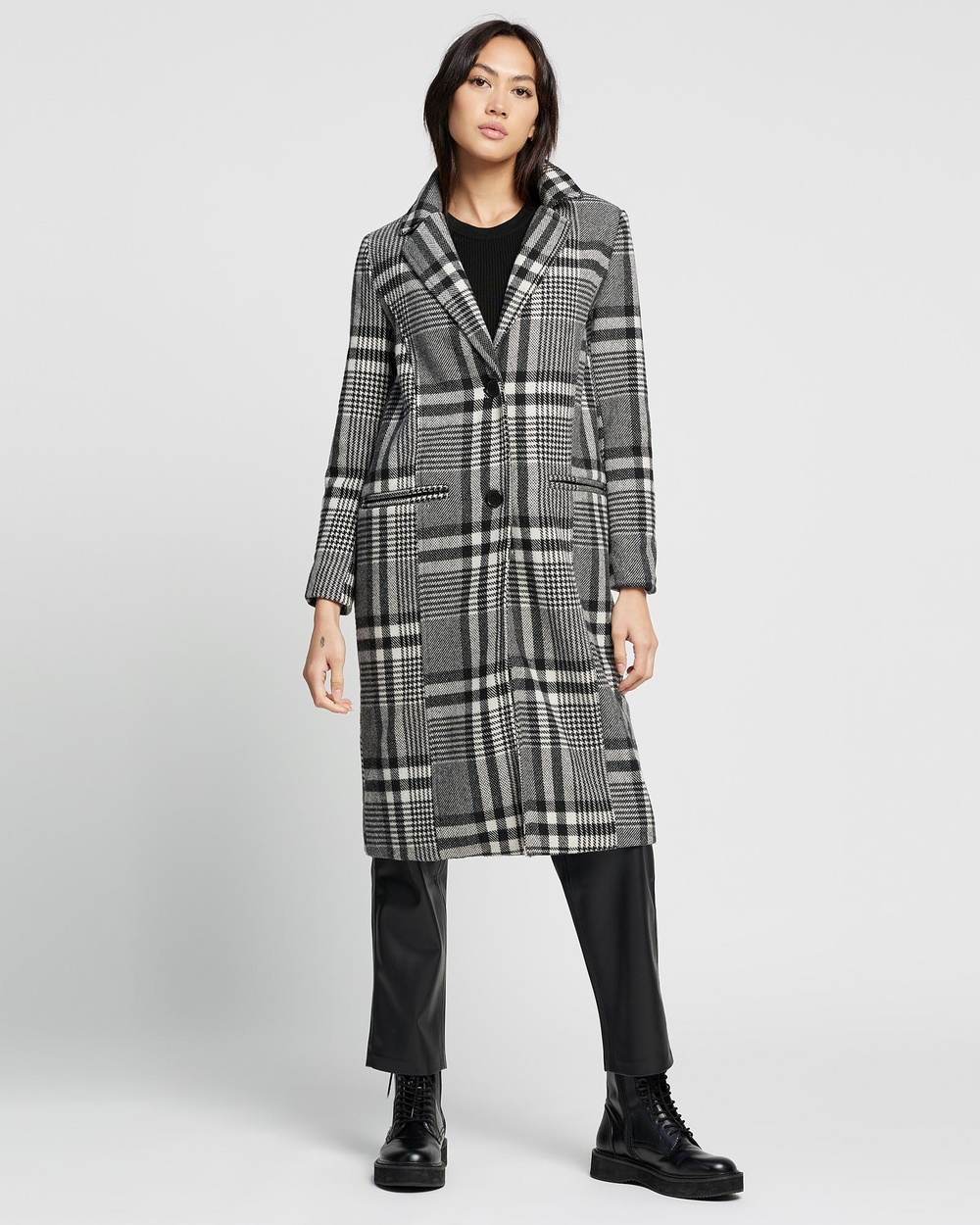 All About Eve Hensley Check Coat Coats & Jackets Black