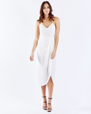 PIZZUTO – Sangria Crossover Back Cocktail Dress White
