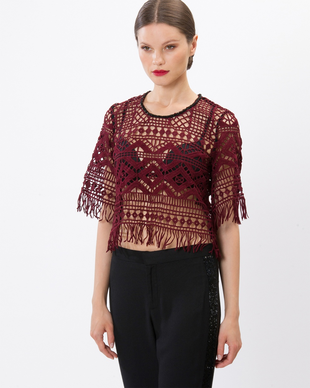 SIYONA Maya Mosaic Embroidered Beaded Top Tops Burgundy Maya Mosaic Embroidered Beaded Top