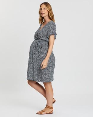 Angel Maternity Maternity Tie Waist Nursing Wrap Dress - Printed Dresses (Navy)