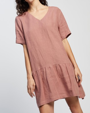 AERE Casual Linen Dress Dresses Pink