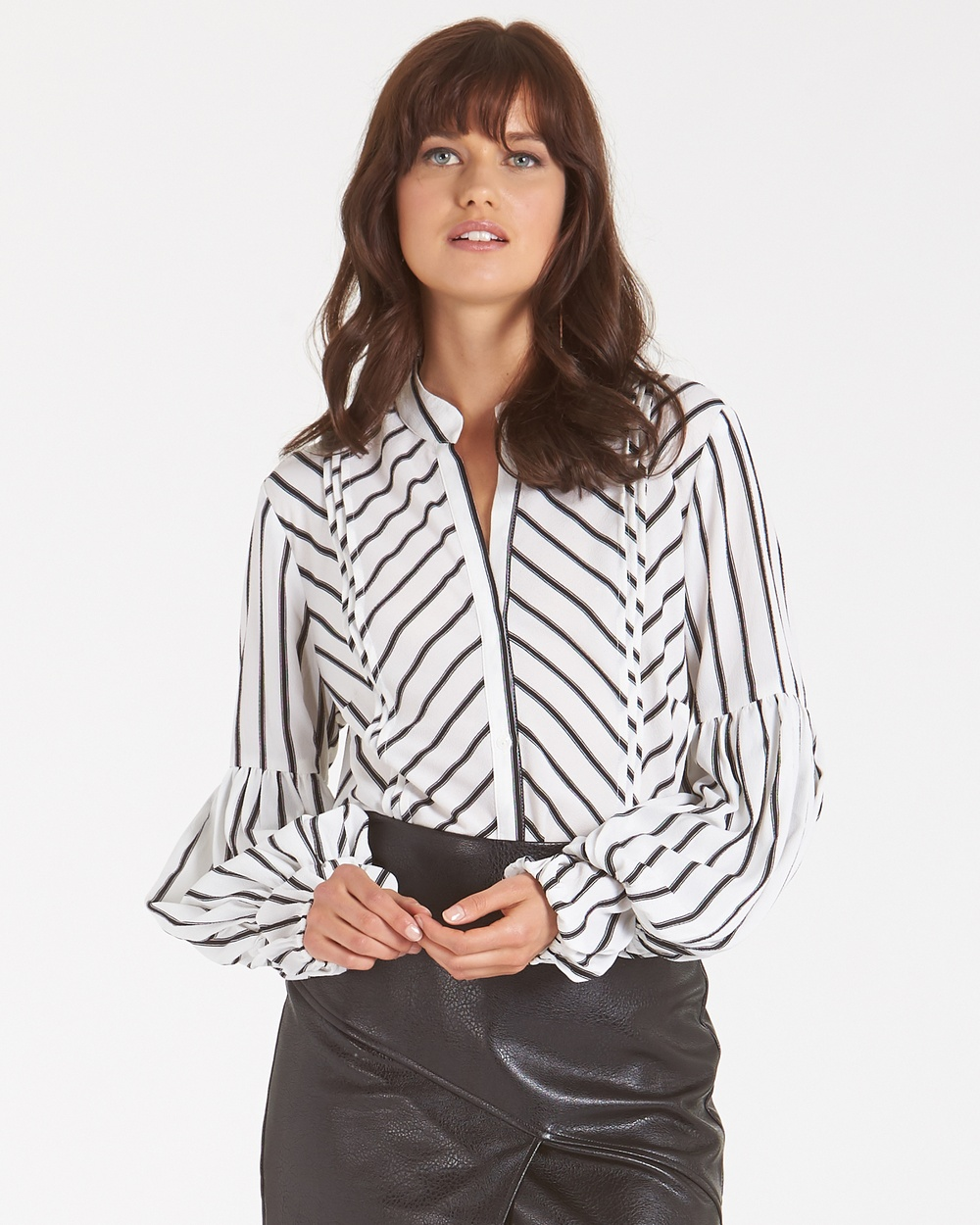 Amelius Allegra Stripe Blouse Tops WHT/BLK Allegra Stripe Blouse