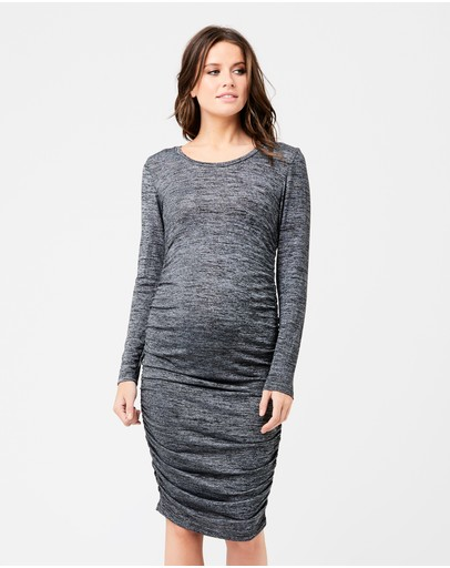 Ripe Maternity Textured Knit Cocoon Dress Black