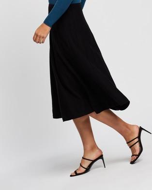 Forcast Charley Flared Midi Skirt - Pleated skirts (Black)