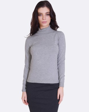 Forcast – Casey Turtle Neck Knitted Sweater – Tops (Grey)