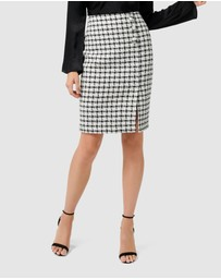 Forever New - Lucy Boucle Wrap Button Pencil Skirt