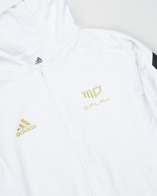 adidas Performance Salah Full Zip Hoodie   Kids Teens - Hoodies (White, Black & Gold)