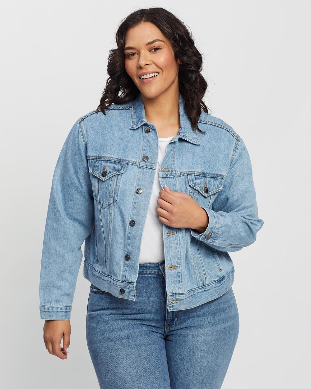 Atmos&Here Curvy Jackie Recycled Cotton Blend Denim Jacket jacket Vintage Blue Australia