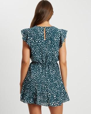 Tussah Ivana Mini Dress - Printed Dresses (Tanzania Spot Emerald)
