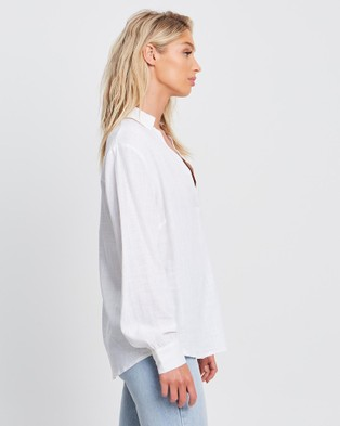 Calli - Effortless Blouse Tops (White)