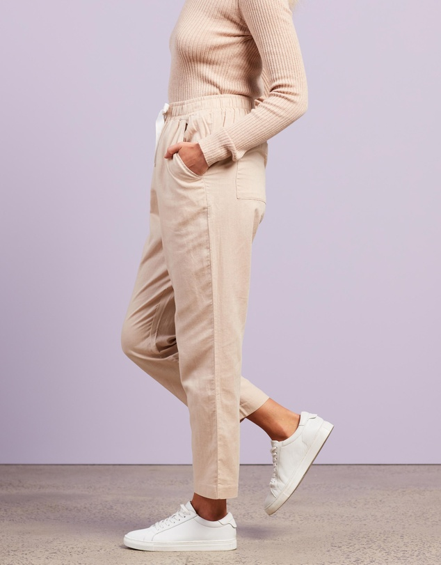 Women Nude Classic Linen Pants