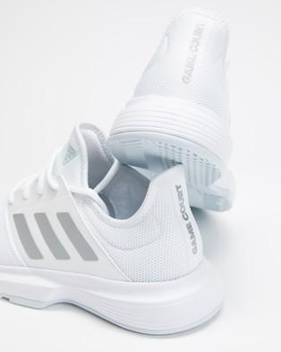 adidas Performance Gamecourt Multicourt Tennis Shoes   Women's - Lifestyle Sneakers (White, Silver Metallic & Halo Blue)