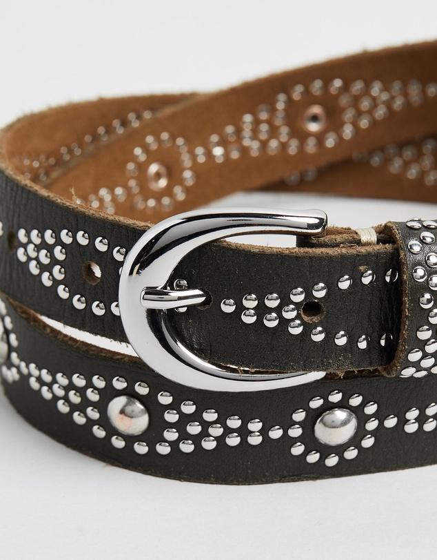 Women Skinny Diamond Pattern Studded Leather Belt