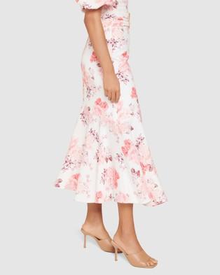 Forever New - Elena Linen Blend Belted Asym Skirt - Skirts (Peach Blossom Floral) Elena Linen Blend Belted Asym Skirt