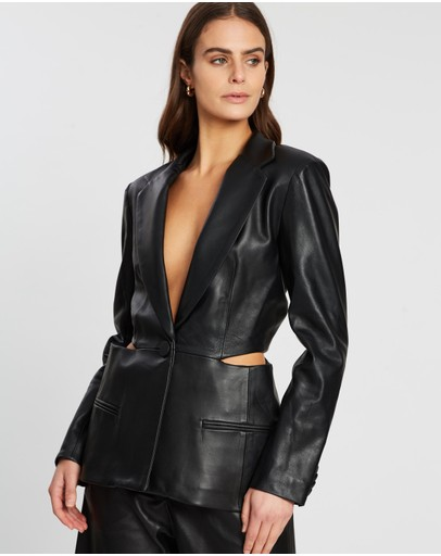 Christopher Esber - Looped Hole Tie Back Leather Blazer