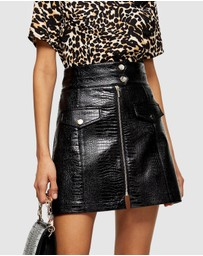 TOPSHOP - Croc Zip PU Mini Skirt