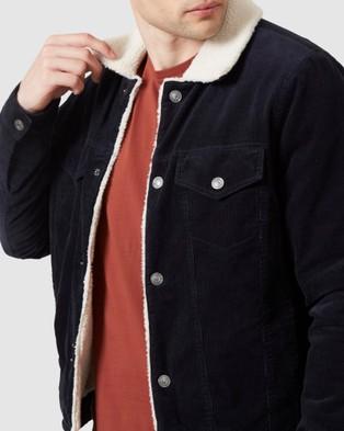 French Connection Cord Sherpa Jacket - Coats & Jackets (MARINE BLUE)