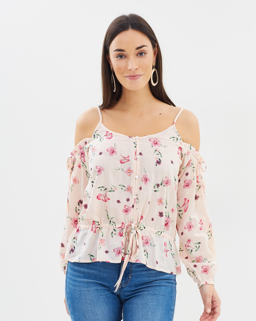 Dorothy Perkins Tie Cold Shoulder Top Tops Peach Tie Cold Shoulder Top