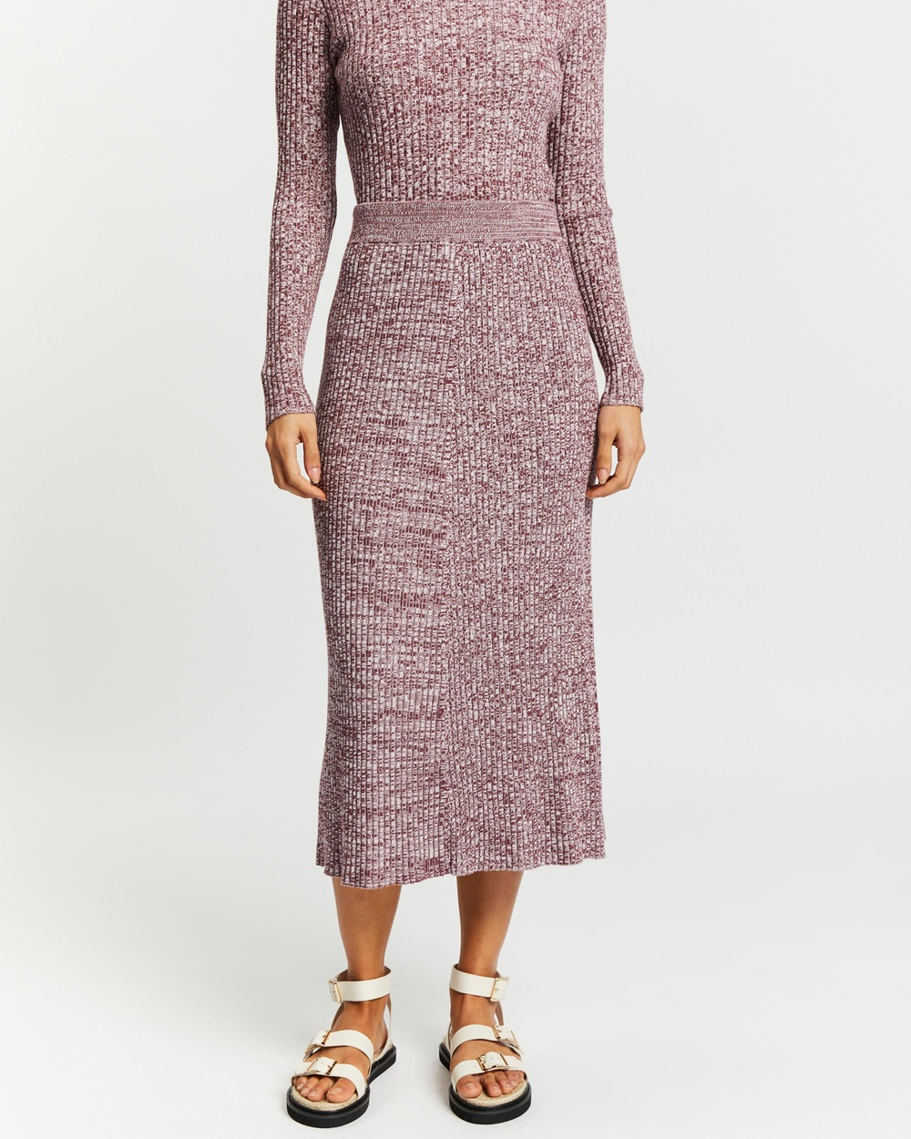 AERE Knitted A Line Skirt Skirts Beetroot A-Line