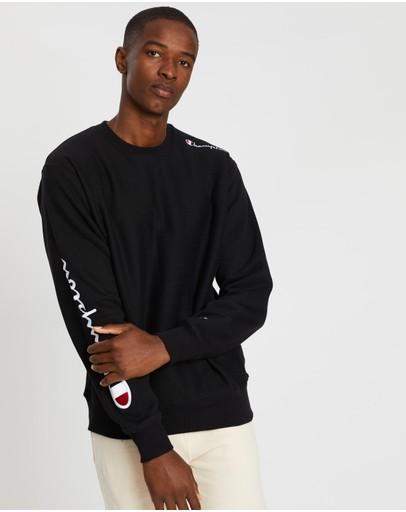 Champion Reverse Weave Crew Multi Script Sweater Black