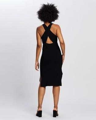 ARIS Cross Back Knit Dress - Bodycon Dresses (Black)